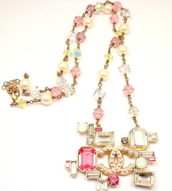 CHANEL French Couture Pink Crystal Mosaic Necklace 2