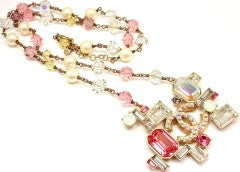 CHANEL French Couture Pink Crystal Mosaic Necklace thumbnail 6