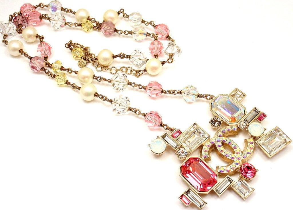 CHANEL French Couture Pink Crystal Mosaic Necklace image 6