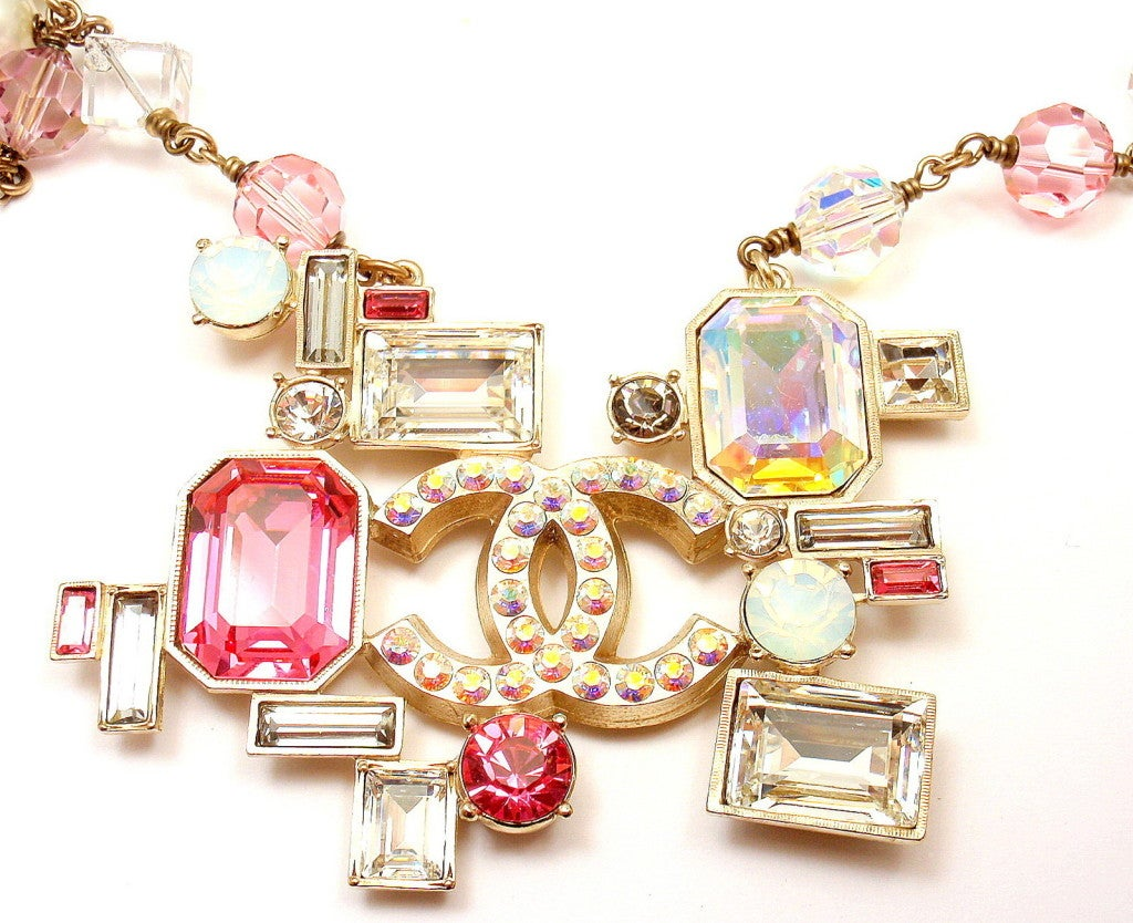 CHANEL French Couture Pink Crystal Mosaic Necklace 7