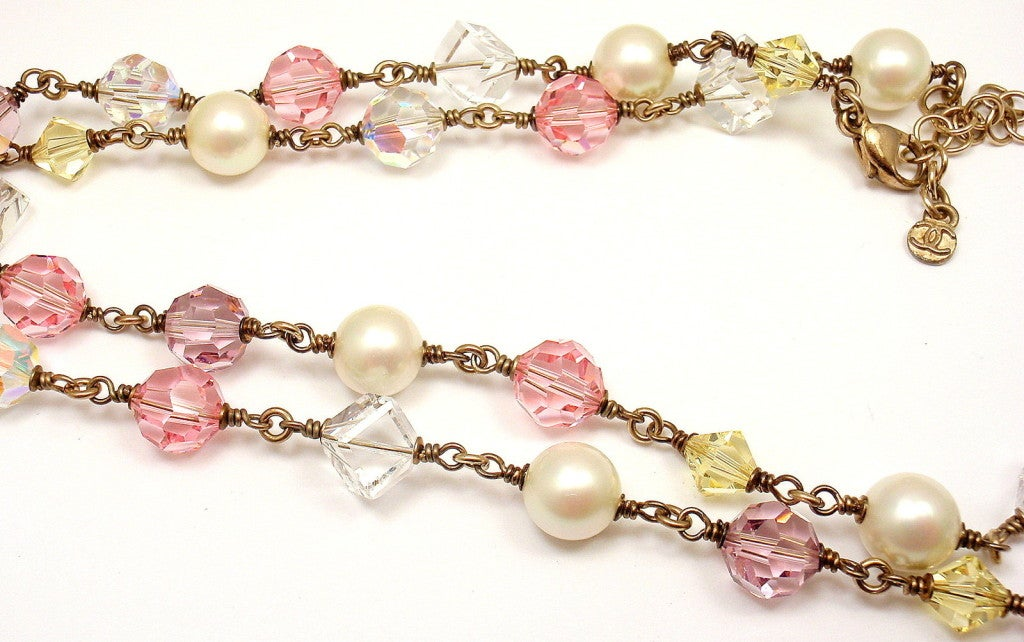 CHANEL French Couture Pink Crystal Mosaic Necklace image 8