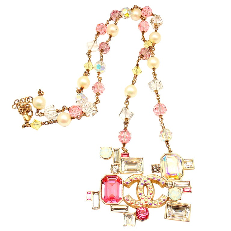 CHANEL French Couture Pink Crystal Mosaic Necklace