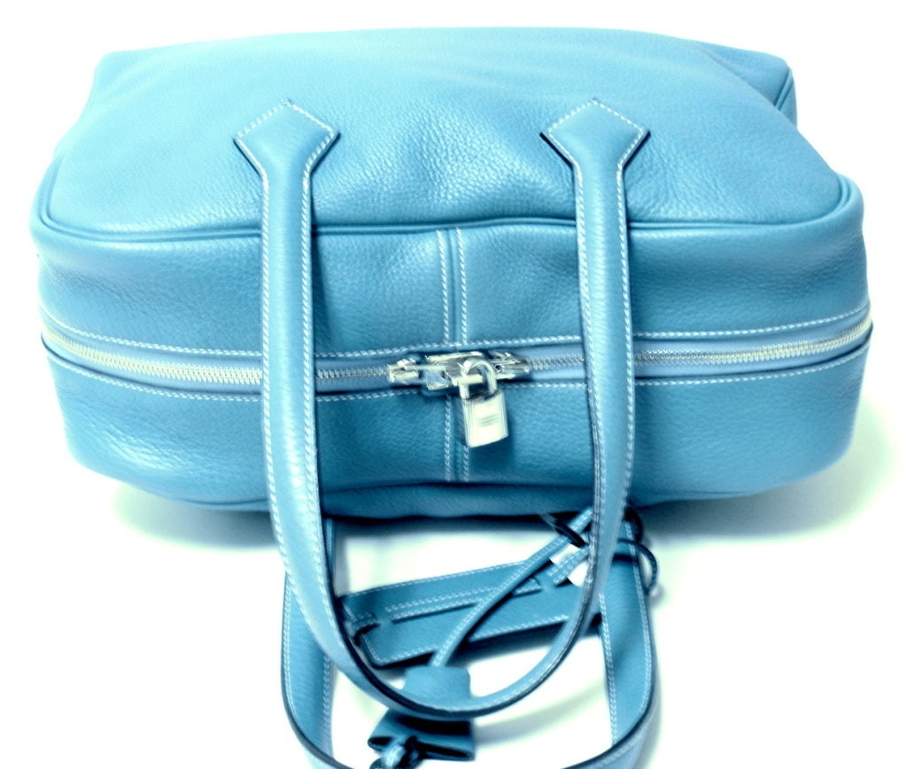 HERMES Victoria II Blue Clemence Leather Travel Tote Handbag at ...