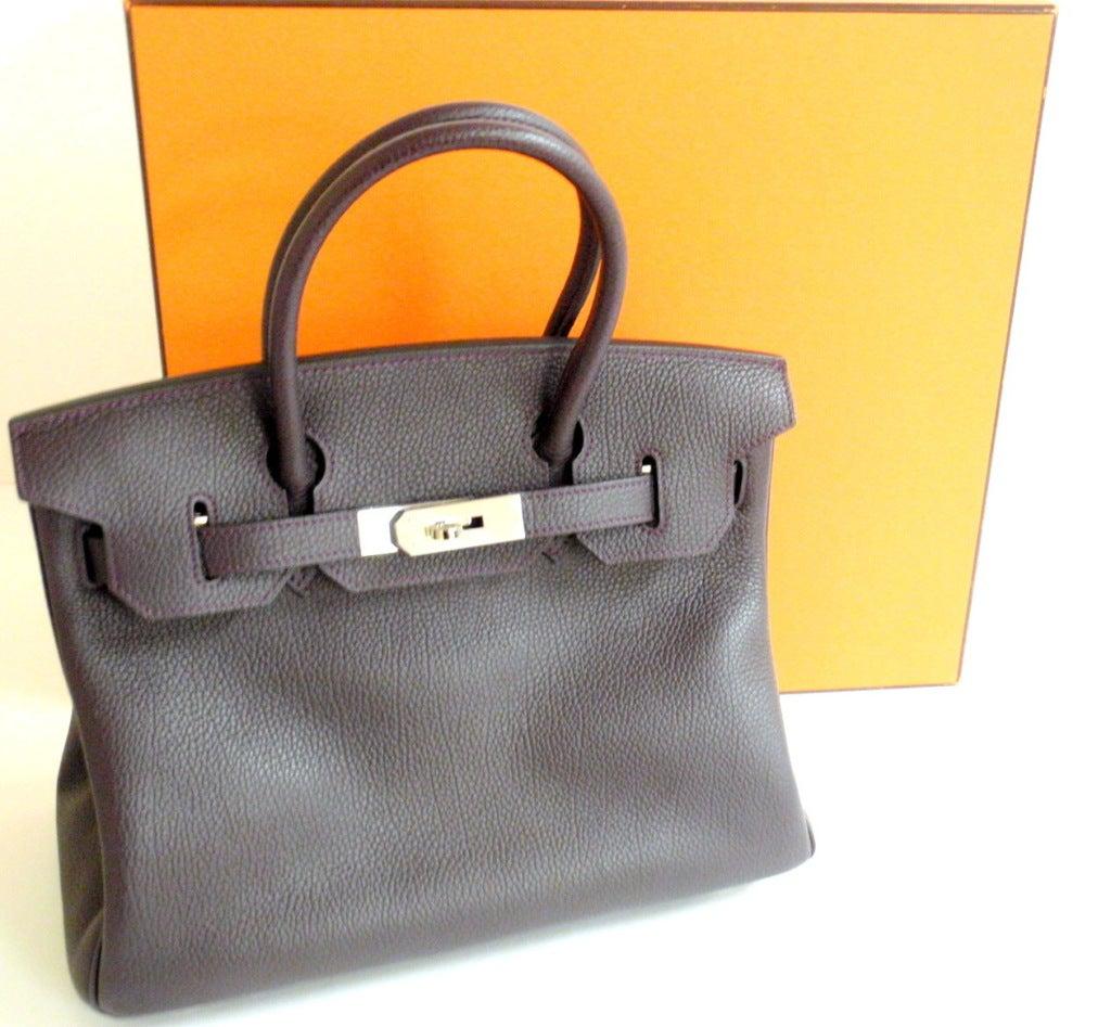 Hermès Birkin 30cm Handbag in Raisin Clemence Leather 10