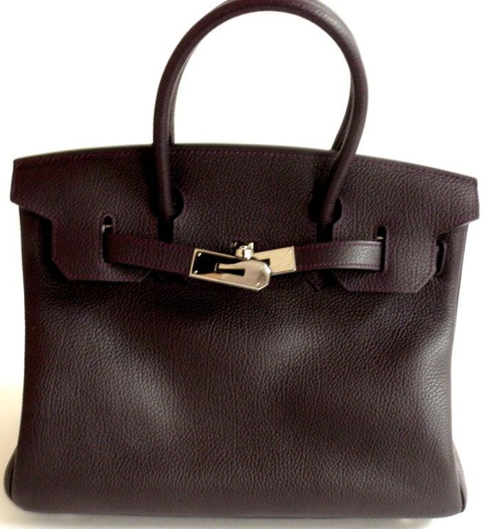 Hermès Birkin 30cm Handbag in Raisin Clemence Leather 2