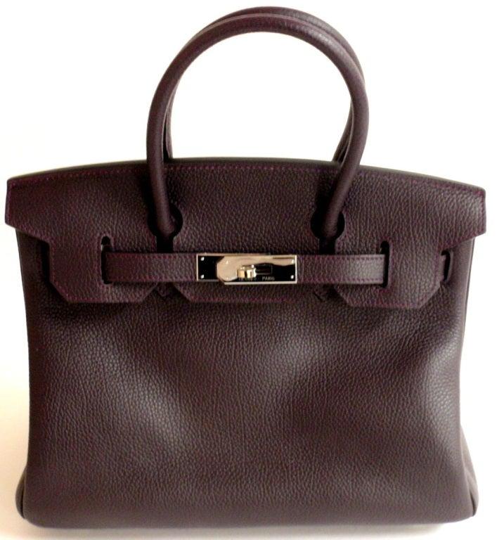 Hermès Birkin 30cm Handbag in Raisin Clemence Leather 3