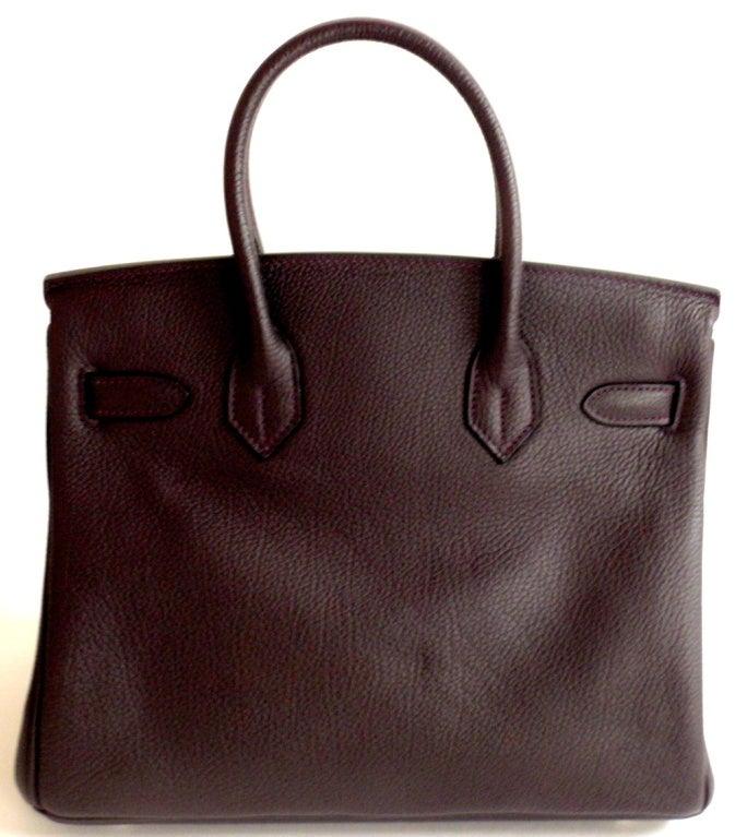 Hermès Birkin 30cm Handbag in Raisin Clemence Leather 4