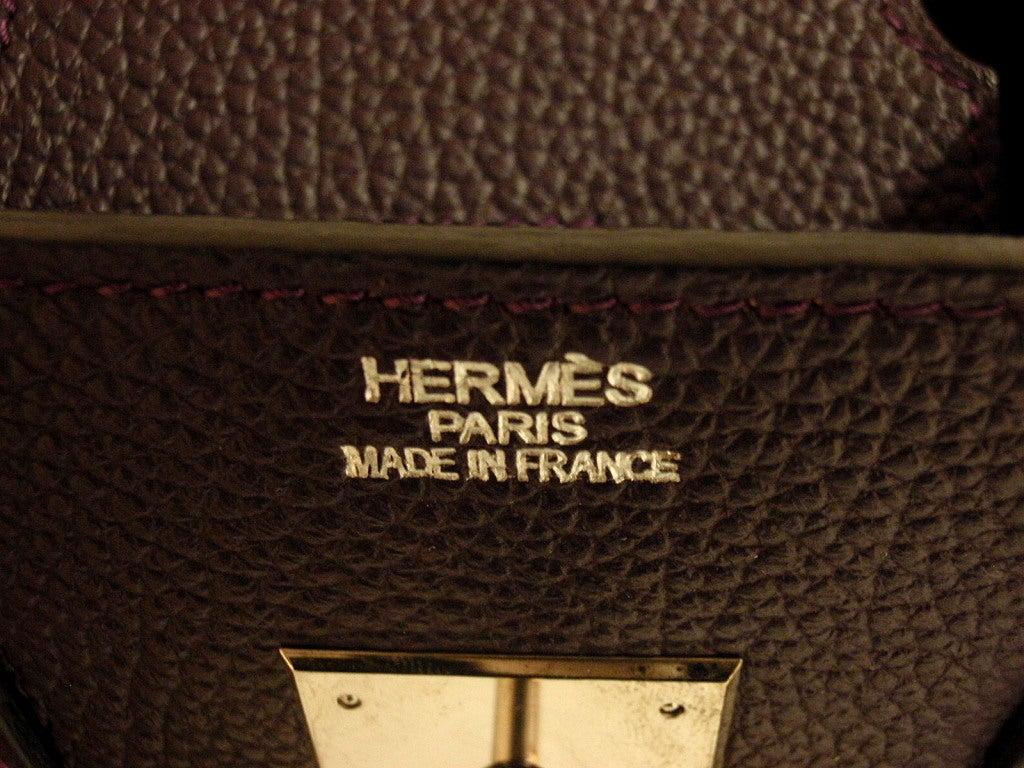 Hermès Birkin 30cm Handbag in Raisin Clemence Leather 6
