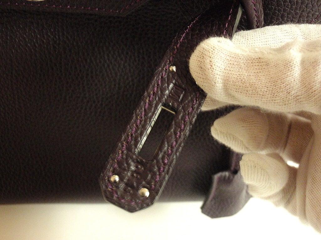 Hermès Birkin 30cm Handbag in Raisin Clemence Leather 8