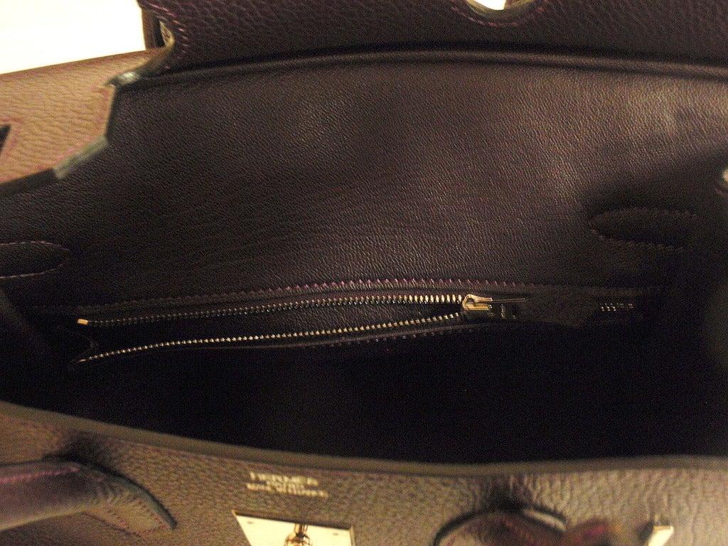Hermès Birkin 30cm Handbag in Raisin Clemence Leather 9