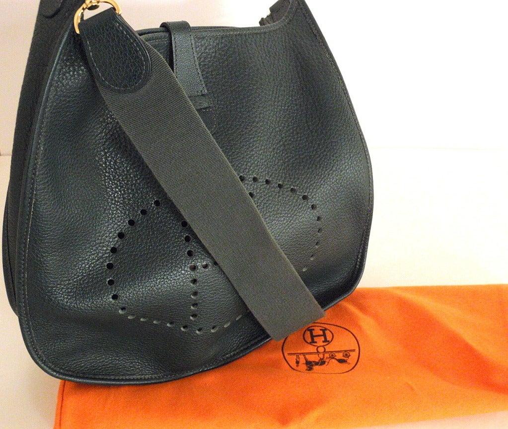 HERMES Evelyne GM Vert Fonce Clemence Leather Shoulder Handbag For ...