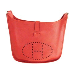 HERMES Evelyne GM Red Rouge Espom Leather Shoulder Handbag