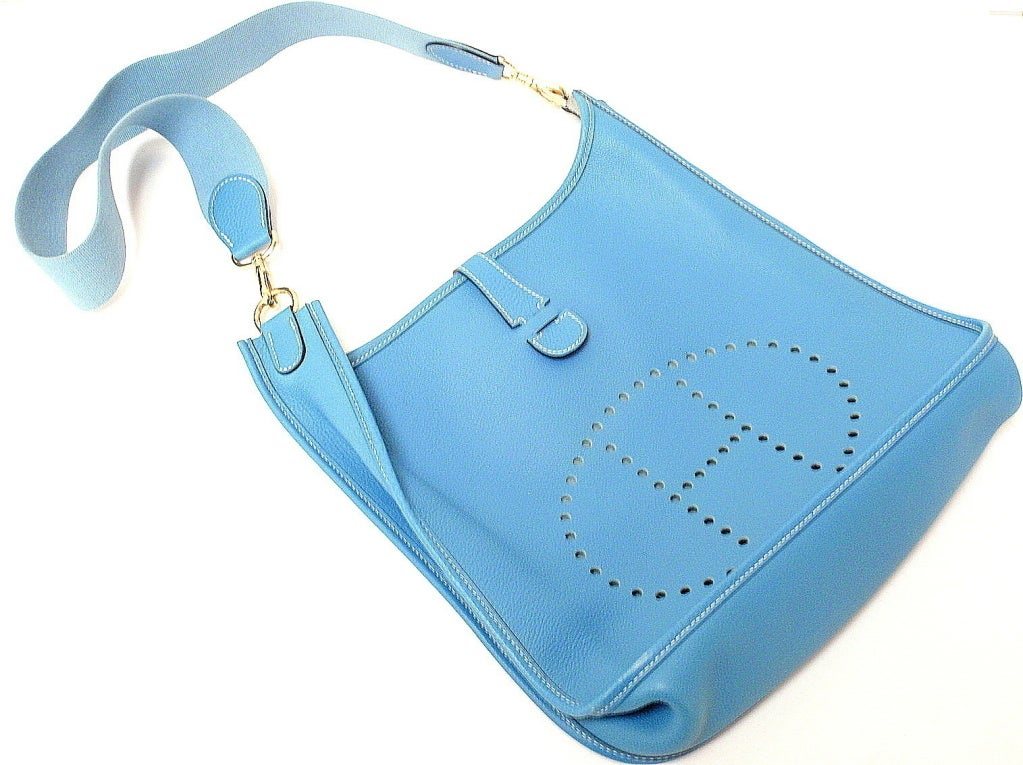 HERMES Evelyne GM Blue Jean Clemence Leather Shoulder Handbag For ...