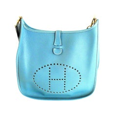 HERMES Evelyne GM Blue Jean Clemence Leather Shoulder Handbag