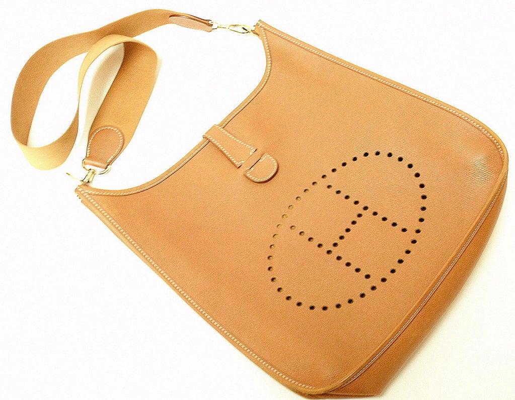 HERMES Evelyne GM Gold Epsom Leather Shoulder Bag For Sale at 1stdibs