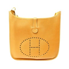 HERMES Evelyne GM Gold Epsom Leather Shoulder Bag