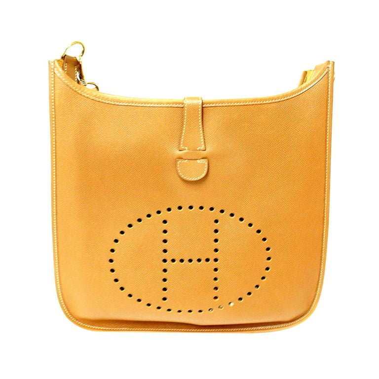 kelly green leather handbag - HERMES Evelyne GM Gold Epsom Leather Shoulder Bag For Sale at 1stdibs