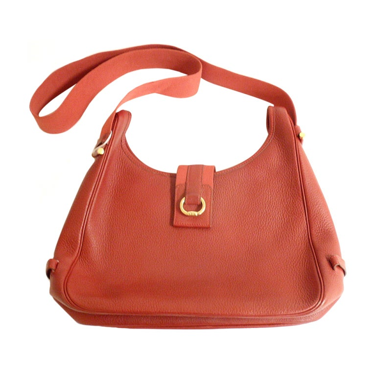 HERMES Tsako Sako Convertible Red Ardenne Leather Bag