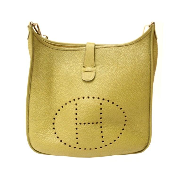 HERMES Evelyne II GM Clemence Vert Anis Leather Shoulder Bag at ...