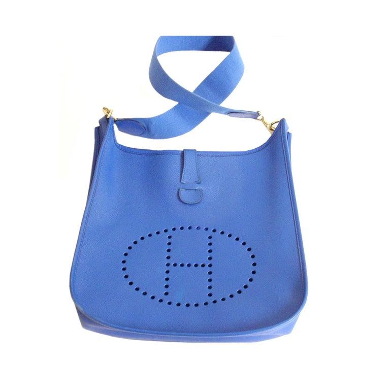 HERMES Evelyne GM Courchevel Leather Blue Hydra Shoulder Bag at ...