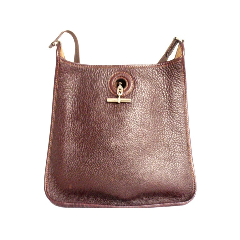 7424ed2dc14a HERMES Vespa PM Chocolate Cocoan Clemence Leather Shoulder Bag For Sale