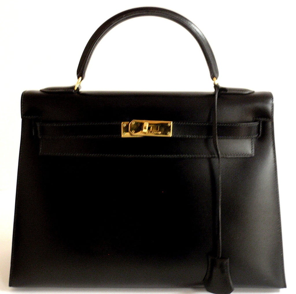 HERMES Kelly 32cm Black Box Leather Handbag from 1992 at 1stdibs
