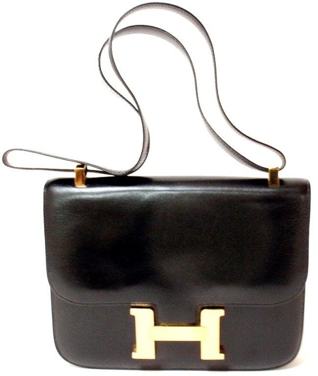 HERMES Constance Black Box Leather Shoulder Handbag at 1stdibs