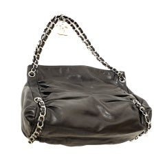 CHANEL Pleated Gathered Lambskin SHW Logo Medallion Handbag