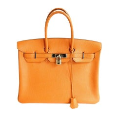 HERMES 35CM ORANGE CHEVRE BIRKIN HANDBAG, YEAR 2006