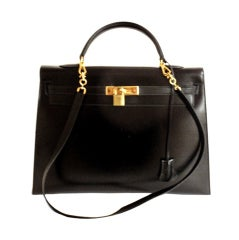 HERMES KELLY 35cm Black Box Calf Gold Hardware Strap Handbag
