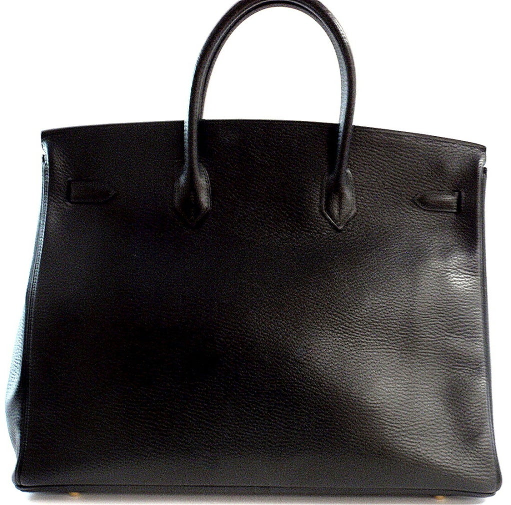 HERMES Birkin 40cm Black Togo Leather Handbag from 2002 image 2