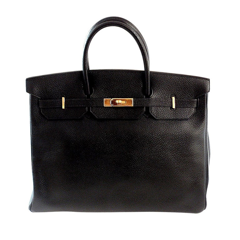 HERMES Birkin 40cm Black Togo Leather Handbag from 2002