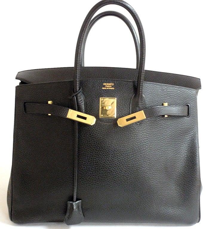Hermes 35cm Black Ardennes Birkin Handbag, Year 2002 For Sale 7