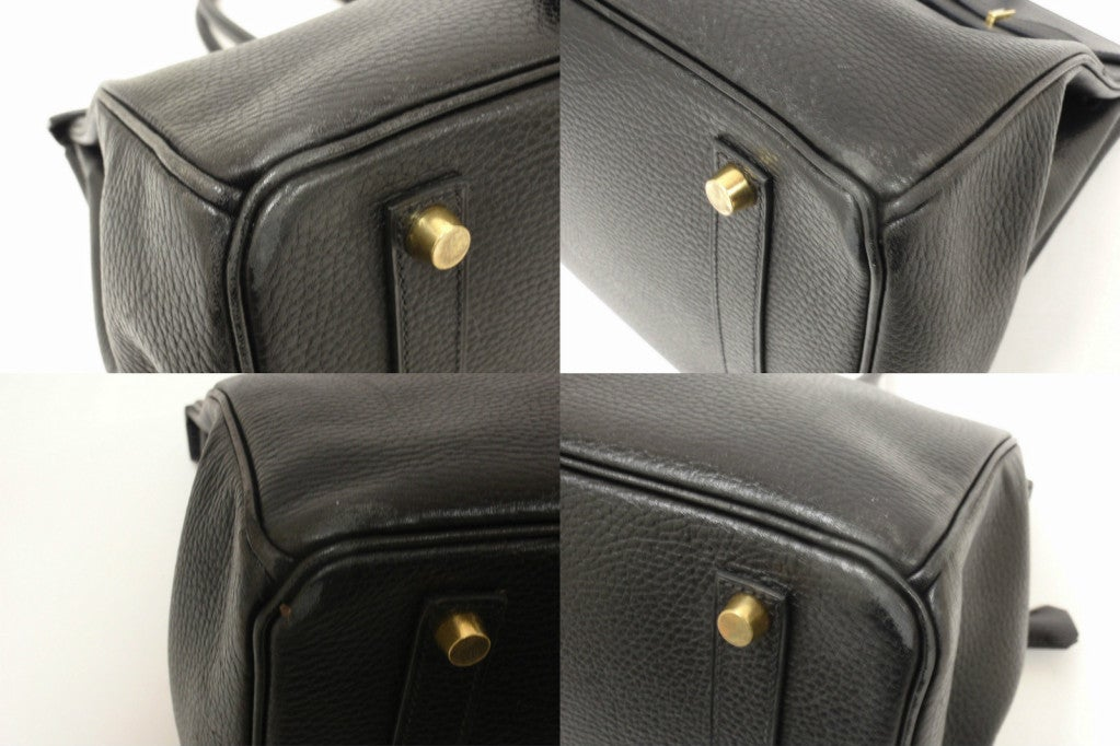 Women's Hermes 35cm Black Ardennes Birkin Handbag, Year 2002 For Sale