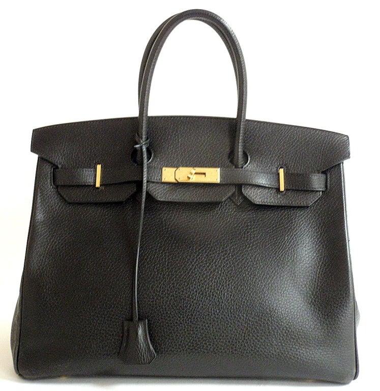 Hermes 35cm Black Ardennes Birkin Handbag, Year 2002 For Sale 1