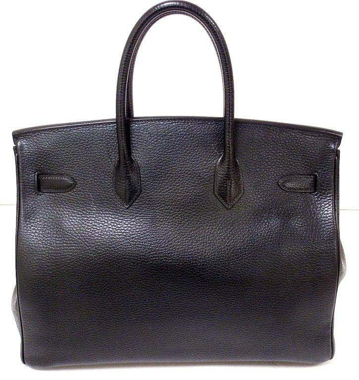 Hermes 35cm Black Ardennes Birkin Handbag, Year 2002 For Sale 2