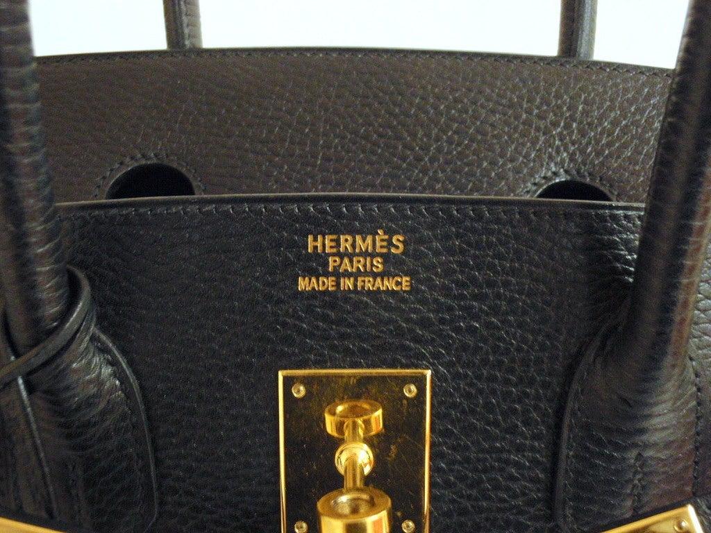 Hermes 35cm Black Ardennes Birkin Handbag, Year 2002 For Sale 6
