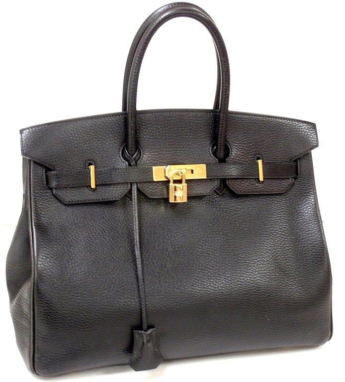 AUTHENTIC! GREAT CONDITION HERMES 35CM BLACK ARDENNES BIRKIN HANDBAG, YEAR 2002  *Please note, color may not be fully representative of handbag based on monitor and lighting. This handbag is a true black*  This bag is in great, near mint
