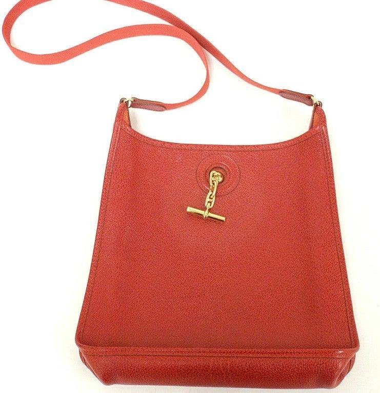 HERMES Vespa PM Red Vache Liegee Leather Shoulder Bag For Sale 6