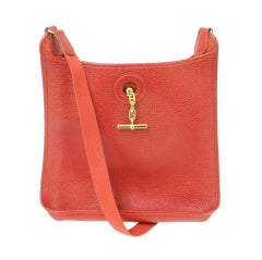 HERMES Vespa PM Red Vache Liegee Leather Shoulder Bag