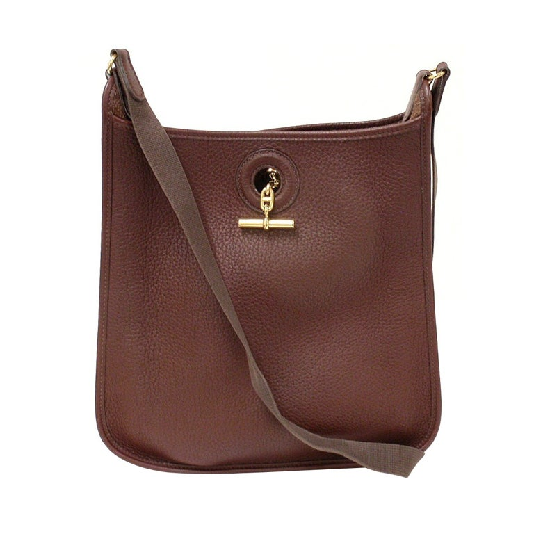 88be2ffe6b3a HERMES Vespa PM Chocolate Cocoan Clemence Leather Shoulder Bag For Sale