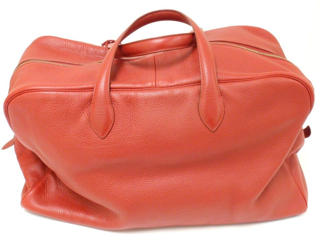 HERMES 50cm Victoria Red Clemence Leather Travel Tote Handbag For ...