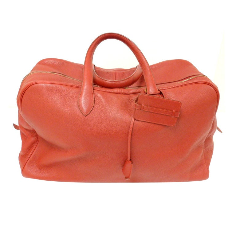 HERMES 50cm Victoria Red Clemence Leather Travel Tote Handbag