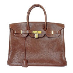 Hermes 35cm Brown Clemence Birkin Handbag, Year 1997