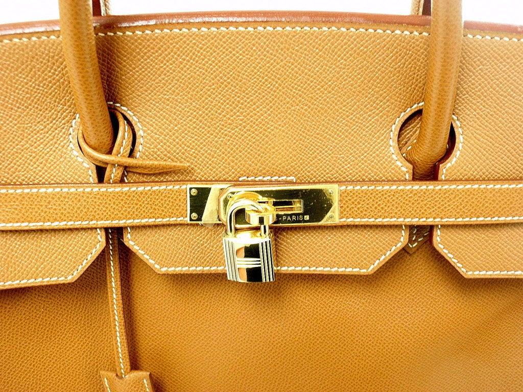 HERMES Birkin 40cm Gold Courchevel Leather Handbag from 1999 5