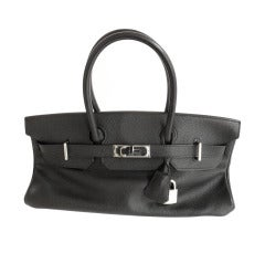 Hermes 42cm Black Clemence Shoulder Birkin Handbag, Year 2005