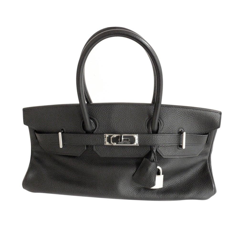 Hermes 42cm Black Clemence Shoulder Birkin Handbag, Year 2005