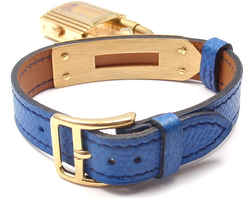Hermes Kelly Blue Leather Gold Hardware Ladies Watch 2
