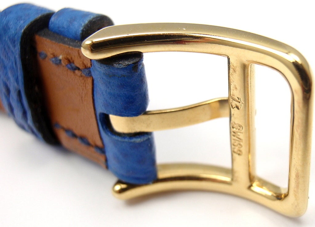Hermes Kelly Blue Leather Gold Hardware Ladies Watch In Excellent Condition For Sale In Southampton, PA