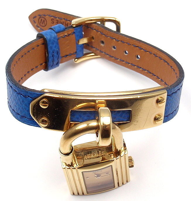 Women's Hermes Kelly Blue Leather Gold Hardware Ladies Watch For Sale